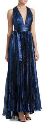 Elie Saab Pleated Lame V-Neck Gown