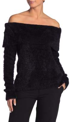 Kensie Off-the-Shoulder Eyelash Knit Sweater