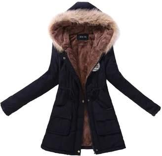 BULUOLANDI Women's Fur Hooded Cotton-Padded Long Parka