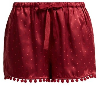 Figue Maja Polka Dot Silk Shorts - Womens - Burgundy