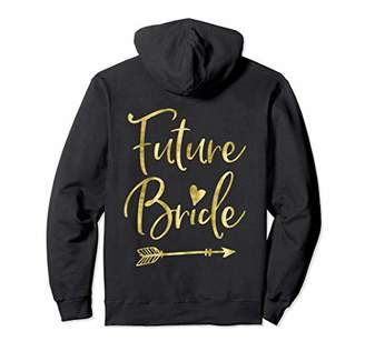 Future Bride Hoodie Back Print Arrow Heart Faux Gold