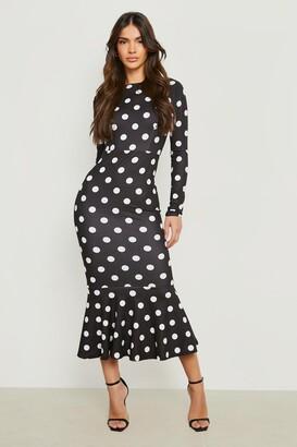boohoo Polka Dot Fishtail Long Sleeved Midaxi Dress