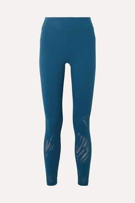 Koral Drive Maxen Perforated Stretch-jacquard Leggings - Azure
