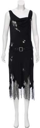 John Galliano Sleeveless Lace-Trimmed Dress