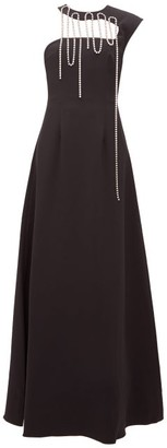 Christopher Kane Crystal Tassel Corseted Crepe Gown - Womens - Black
