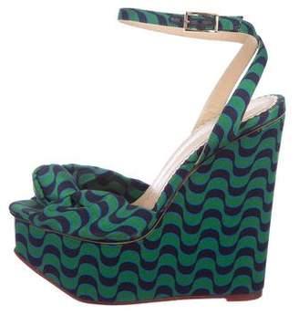 Charlotte Olympia Satin Platform Wedge Sandals