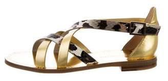 Diane von Furstenberg Snakeskin-Trimmed Crossover Sandals