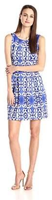 Gabby Skye Women's Sleeveless Fit Flare Printed Dress