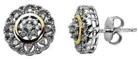 Lord & Taylor Diamond Accented Earrings in Sterling Silver with 14K Yellow Gold 0.13 ct. t.w.