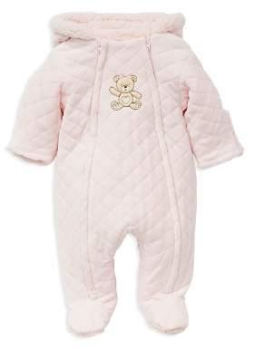 Little Me Girls' Faux-Fur Hooded Teddy Bear Footie Jacket - Baby