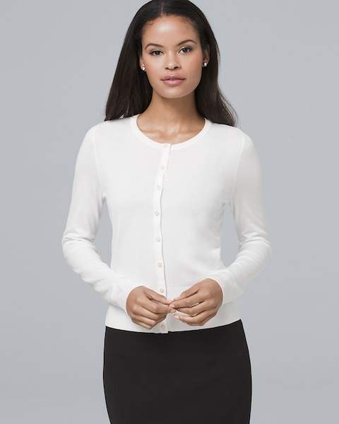 Whbm Faux Pearl & Pave Button-Front Cardigan