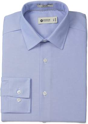 Haggar Men's Oxford Solid Point Collar Regular Fit Long Sleeve Dress Shirt