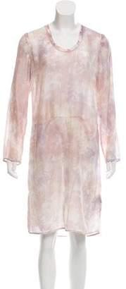Raquel Allegra Long Sleeve Watercolor Midi Shift Dress w/ Tags