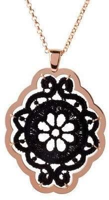 "Bronzo Italia Floral Macrame Pendant w/ 30"" Rolo Link Chain"