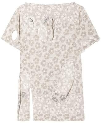 Michael Van Der Ham Cutout Jacquard Flower Top