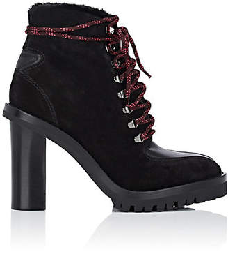 Valentino Women's Suede & Shearling Ankle Boots - Black