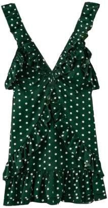 Goodnight Macaroon 'Poppy' Polka Dot Ruffle Flare Mini Dress (3 Colors)