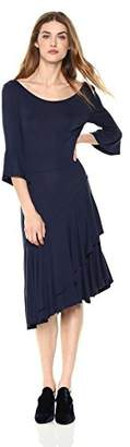 Painted Heart Women's Bell-Sleeve Jersey Midi Dress with Assymetrical Ruffle Detail