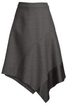 BOSS Vadelina Structured Asymmetric Wool & Leather Skirt