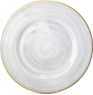 Jay Imports Alabaster Glass Charger Plate With Gold-Tone Rim