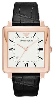 Emporio Armani Square Leather Strap Watch