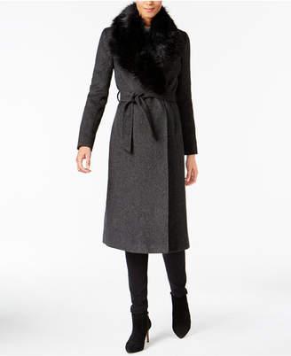 Cole Haan Faux-Fur-Collar Walker Coat