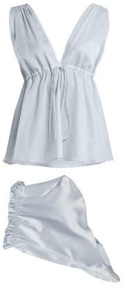 Three Graces London - Nellie And Ariel Cotton Pyjama Set - Womens - Light Blue