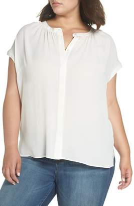 Sejour Gathered Neck Button Down Top