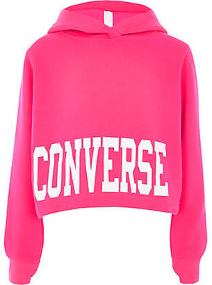 River Island Girls Converse bright pink cropped hoodie