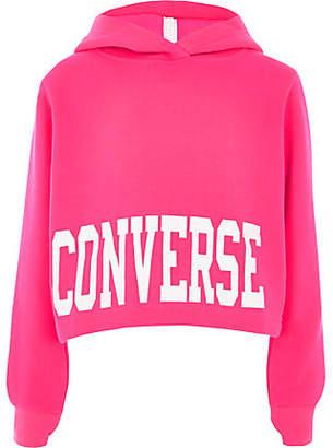 1ef73aedf5278c Converse Girls bright Pink cropped hoodie