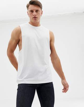 Asos Design DESIGN organic relaxed sleeveless t-shirt with dropped armhole in white