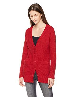 True Angel Women's Allover Seed Stitch Long Sleeve with Two Pockets Knitted Cardigan XL