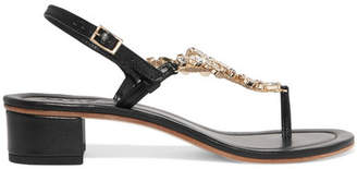 Musa Embellished Leather Sandals - Black