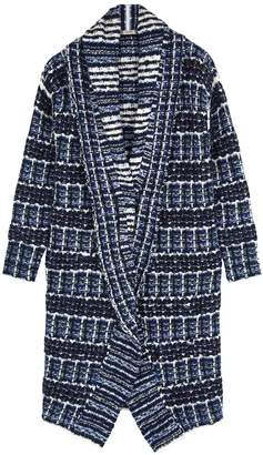 Crea Concept Blue Checked Boucle-knit Cardigan