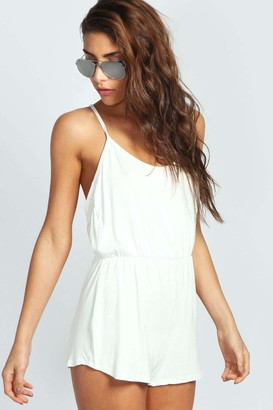 boohoo Draped Strappy Back Jersey Playsuit