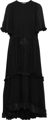 Clu Ruffle-trimmed Silk And Cotton-blend Maxi Dress