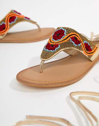 109da9d417fd4 Asos Design DESIGN Final Dance Beaded Flat Sandals