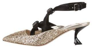 Miu Miu Glitter Bow Pumps w/ Tags