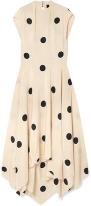 Petar Petrov Polka-dot Silk Crepe De Chine Midi Dress - Cream