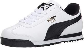 Puma Men's Roma Basic Leather Sneaker,Black/White Silver,9.5 D US