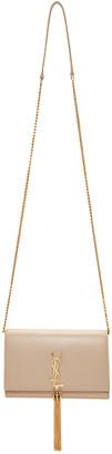 Saint Laurent Beige Monogram Kate Chain Wallet Bag $1,550 thestylecure.com