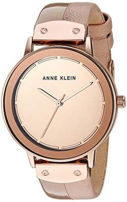 Anne Klein Women's AK/3226RMLP Rose Gold-Tone and Light Pink Leather Strap Watch