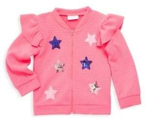 Little Girl's Sequin Star Ruffle Bomber Jacket