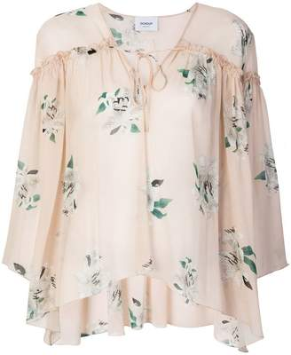 Dondup floral tie neck blouse