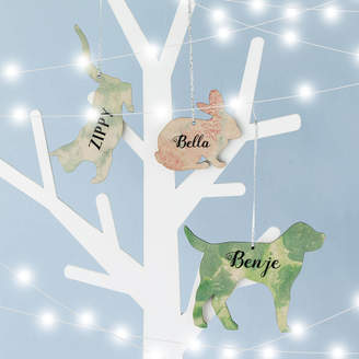 Seahorse Personalised Marble Print Wooden Pet Decoration
