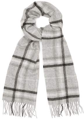 Reiss LISLE LAMBSWOOL CASHMERE BLEND SCARF Grey Check