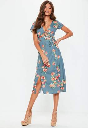 Missguided Blue Floral Split Midi Dress