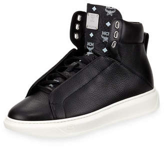 MCM Men's Visetos-Trim Leather High-Top Sneakers