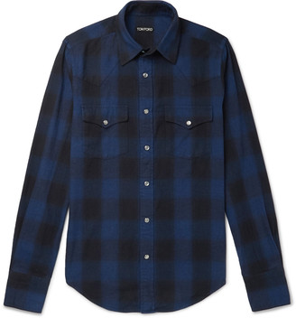 Tom Ford Slim-Fit Checked Brushed-Cotton Western Shirt - Men - Blue