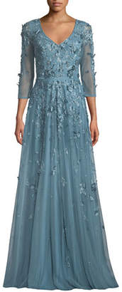 Theia Floral Tulle Applique V-Neck Gown